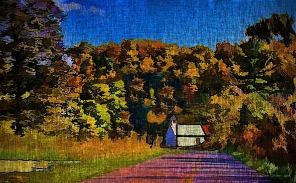 Little White Church On Canvas