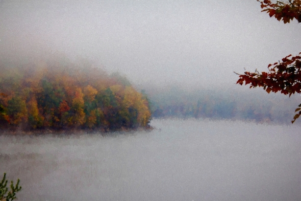 Foggy Autumn On Lake-imp